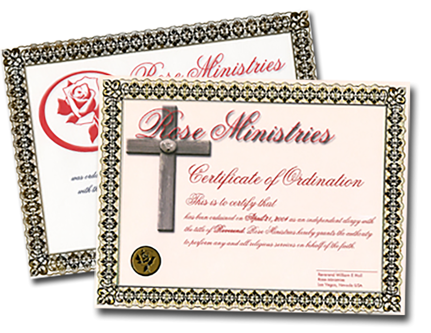 Become Ordained | Ordination Certificate | Rose Ministries