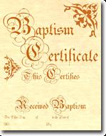 Classic Baptism Certificates