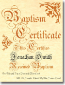 Classic Baptism Certificate Inscribed