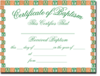 Baby Baptism Certificates