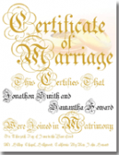 Classic Marriage Certificate Inscribed